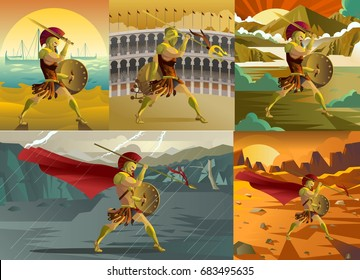 gladiator, greece trojan warrior and spartan soldiers scenes