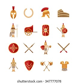 Gladiator and greek antiquity warriors icons set isolated vector illustration