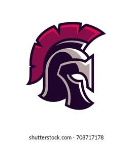 Gladiator helmet logo or icon. Greek Spartan warrior armor in cartoon comic book style, vector illustration.