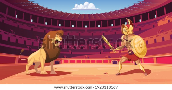 Gladiator and lion fight in  Coliseum arena vector illustration