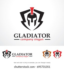 Gladiator Logo Template Design Vector, Emblem, Design Concept, Creative Symbol or Icon