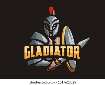 Gladiator logo. Vector format, available for editing. Full-color version. Dark background.
