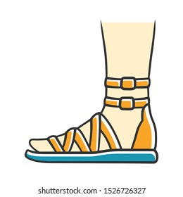 Gladiator sandals yellow color icon. Woman stylish footwear design. Female casual shoes, modern summer flats with ankle strap side view. Fashionable ladies apparel. Isolated vector illustration