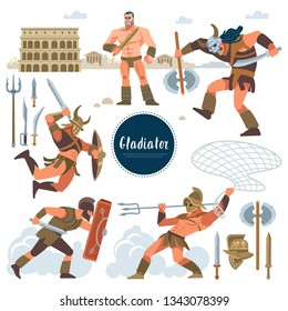 The Gladiator. Set in ancient Rome illustration historic gladiator, warriors flat characters. Warriors, sword; armor; shield, arena, Colosseum. Flat style.