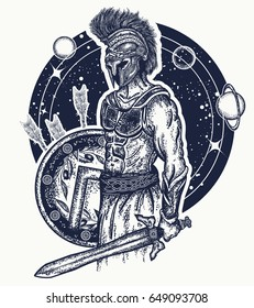 Gladiator spartan warrior holding sword and shield tattoo art. Symbol of bravery, force, army, hero. Spartan warrior t-shirt design. Legionary of ancient Rome and Greece