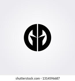 Gladiator/ viking logo. GG G G initial logo isolated in white. Sport logo concept.