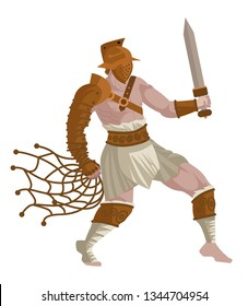 gladiator warrior in the arena with net and gladius sword
