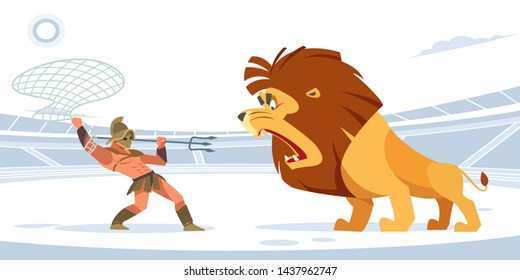 Gladiatorial combat with a lion. Gladiator with a net and a Trident against a giant lion in the arena. White isolated background. Vector flat style.