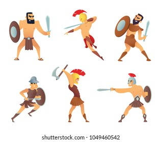 Gladiators holding swords. Fighting characters in action poses. Warrior in battle with sword, medieval soldier. Vector illustration
