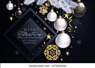 Glam Christmas card with white and black balls. Christmas ornaments.