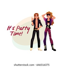 Glam rock party invitation, banner poster template with two young men in leather clothing, cartoon vector illustration. Glam rock party invitation banner, poster layout with rock star boys - Shutterstock ID 646516375
