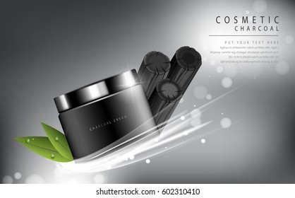 Glamorous charcoal cosmetic ads, facial treatment for sale. black bottle. vector design.