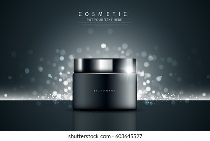 Glamorous cosmetic ads, facial treatment for sale. Night cream bottle. vector design.
