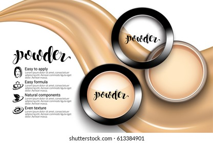 Glamorous Fashion Face Cosmetic Makeup Powder Black Round Plastic Case Top View ads. flowing liquid texture. White background Package Product. Advertising Banner. 3D Vector Illustration.
