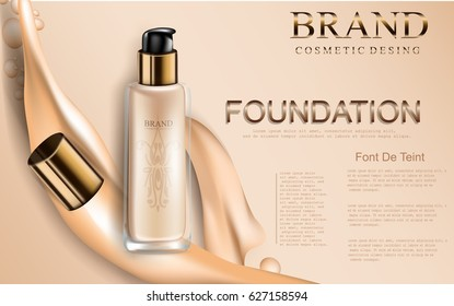 Glamorous foundation ads, glass bottle with foundation and foundation splashes, elegant ads for design, 3d vector illustration