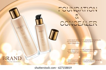 Glamorous foundation and concealer ads, glass bottle with foundation sparkles and bokeh element, elegant ads for design, 3d vector illustration