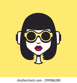 Glamorous funny Girl Character DJ Party Style