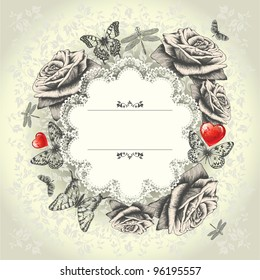 Glamorous lace frame with blooming roses, flying butterflies, red heart. Hand drawing. Vector.