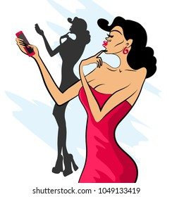 Glamorous lady in red dress and red shoes makes selfie on her phone