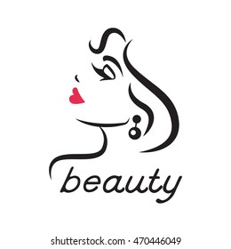 Glamorous logo for a beauty salon. Woman's face in profile. Closed eyes and red lips. Vector illustration.