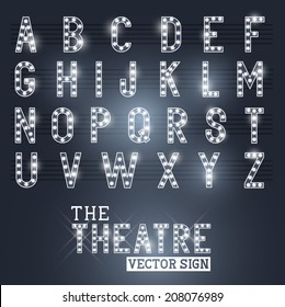 Glamorous Showtime Theatre Sign and Alphabet. Vector illustration.