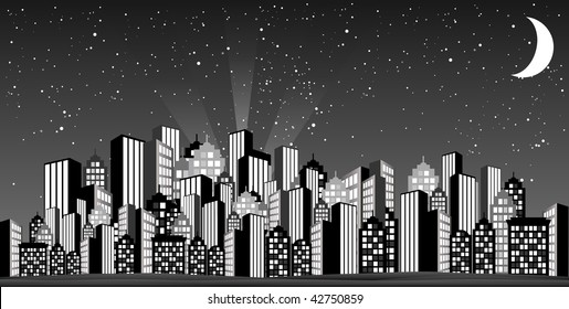 Glamorous skyline inspired from old fifties.