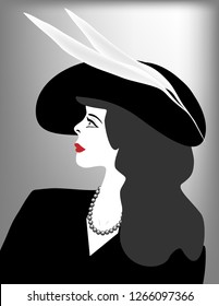 A glamorous woman wearing a stylish hat with feathers is featured in a minimalist fashion and beauty illustration.