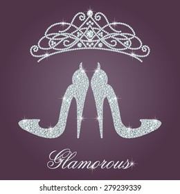 Glamour design elements. Elegant ladies high heels shoe shape, made with shiny diamonds. And crystals diadem. Isolated on the round gradient dark violet background. Vector illustration.