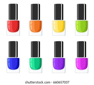 Glamour elegance manicure illustration Nail polish colors spilling out of bottles. Vector templates for cosmetic products.