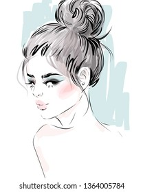 Glamour girl  with messy bun hairstyle  hand drawn fashion illustration. Young model face portrait sketch.
