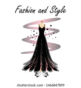 A glamour gown on mannequin. Beautiful dress for special event with fancy decor on mannequin. Vector fashion illustration for online shop.