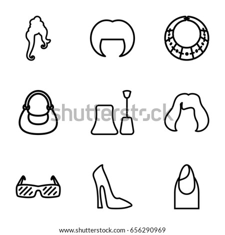 Glamour icons set. set of 9 glamour outline icons such as woman hairstyle 124e30303f