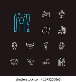 Glamour icons set. Beard and glamour icons with ponytail hair, lotus flower and shaving brush. Set of massaging for web app logo UI design.