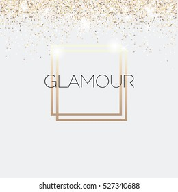 Glamour invitation card, fashion show, Vip. Gold glitter background. Vector illustration