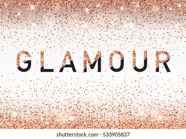 Glamour invitation card, fashion show, Vip. Rose Gold glitter background. Vector illustration