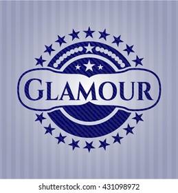 Glamour jean or denim emblem or badge background