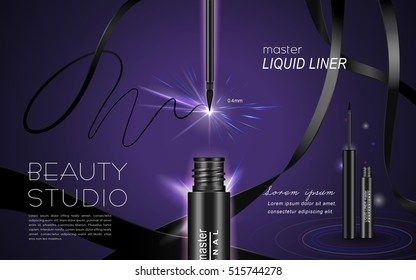 Glamour mascara ads, curling blank streamline and product package in 3d illustration