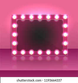 Glamour pink makeup blank mirror realistic with bulb light effect in wall background. vector illustration
