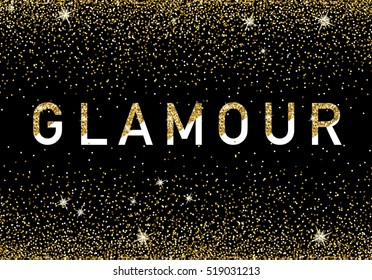 Glamour premium invitation card,poster, flyer. Black and golden design template.
