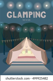 Glamping by night poster. Colorful lights and garlands.
