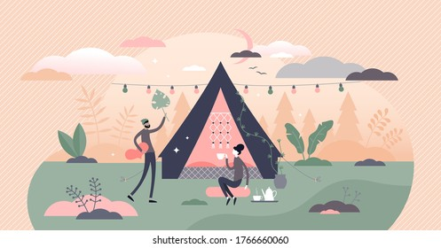 Glamping, camping and outdoor romantic activity in flat tiny persons concept vector illustration. Outdoor picnic holiday with accommodation in romantic tourist forest tent. Couple relaxation in nature
