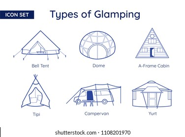 Glamping and Camping Types. Vector Line Icon Set.