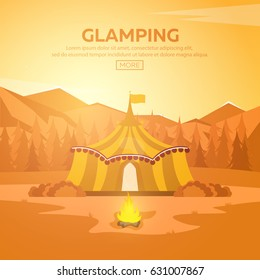 Glamping. Glamor camping. Campfire. Pine forest and rocky mountains. Evening Camp