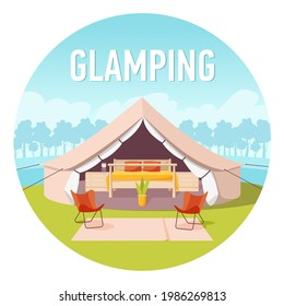 Glamping or Glamor camping. Modern comfortable tent with forest and clouds on background. Recreation in wild nature with facilities. Flat style concept banner, vacation and travel concept. Isolated on