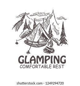 Glamping hand drawn vector illustration.