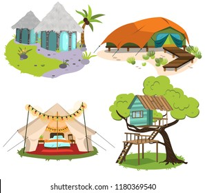 Glamping houses colorful set