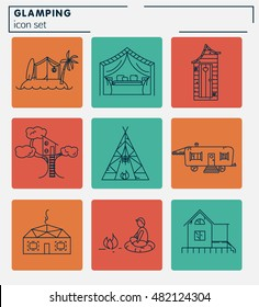Glamping icon set for your project
