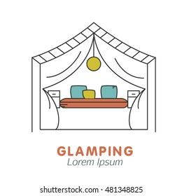 Glamping icon with tent
