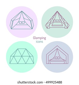 Glamping icons set. Purple and mint colors.