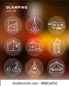 Glamping - line icon set for your project